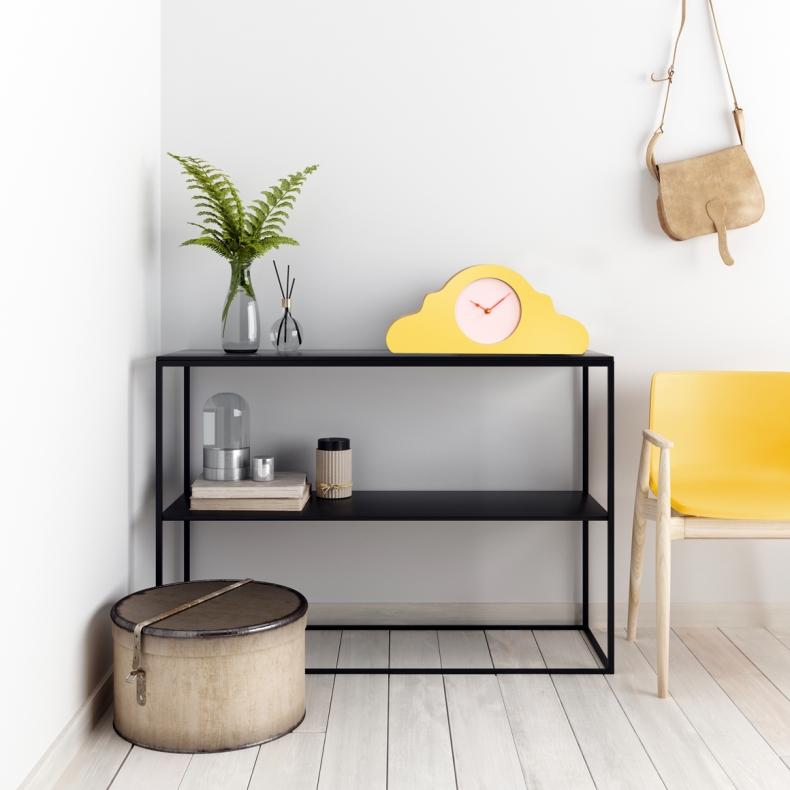 gele design klok voor op de schouw of mantel, yellow design mantel or mantle clock